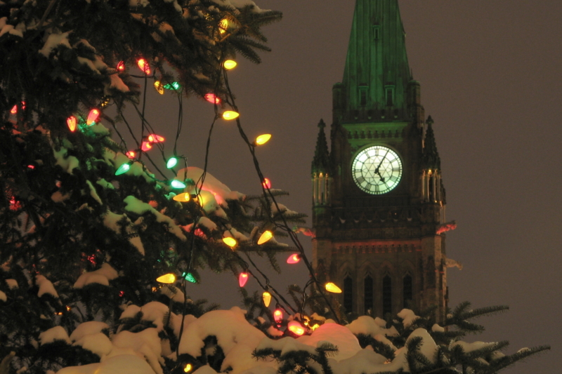 Peace tower at Christmas