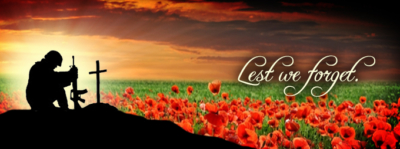 soldier in a field of poppies with text