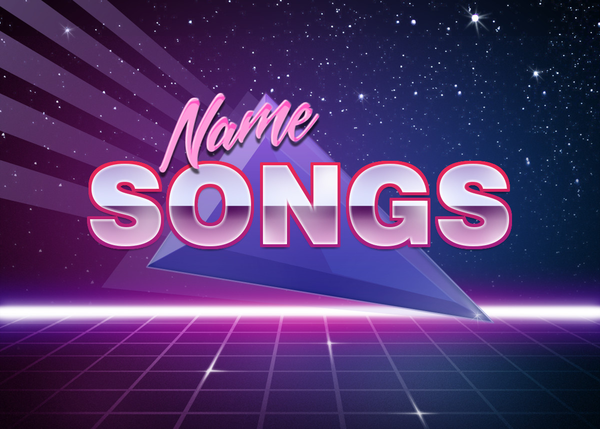 80s graphic with name songs in text